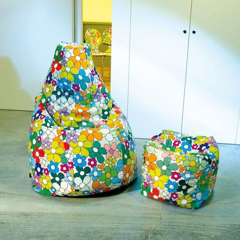 Poltrona a sacco Lolita in tessuto poliestere con grafica colorata