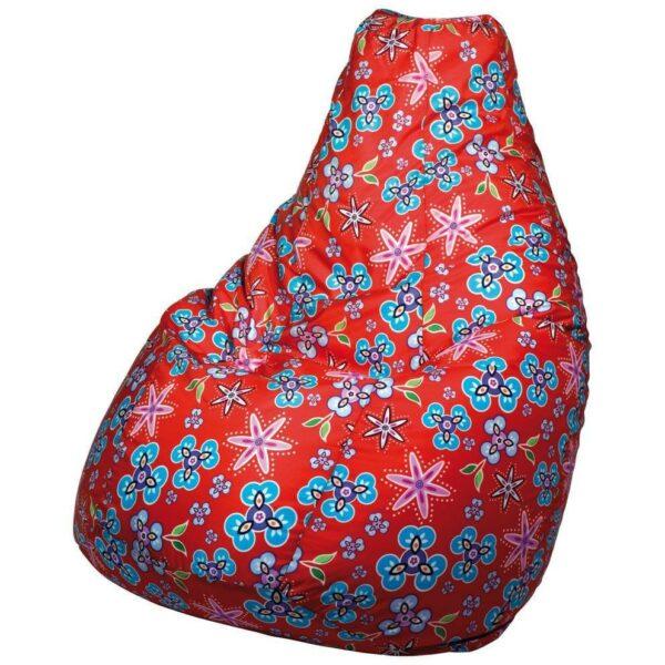 Poltrona a sacco Lolita in tessuto poliestere sfondo rosso e grafiche blu e rosa