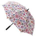 ombrello aperto con manico nero e fantasia colorata fiori e cuori