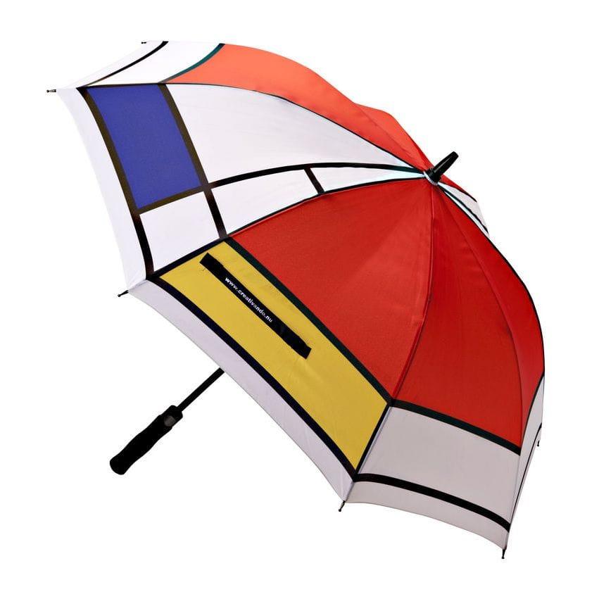 Ombrello bianco con grafica stile Mondrian