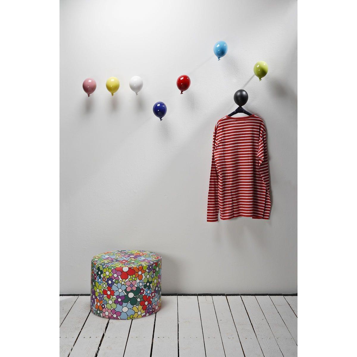 Palloncino in ceramica appendiabiti decorativo miniBalloon arancione, azzurro, bianco, blu, giallo, rosa, rosso e verde su parete