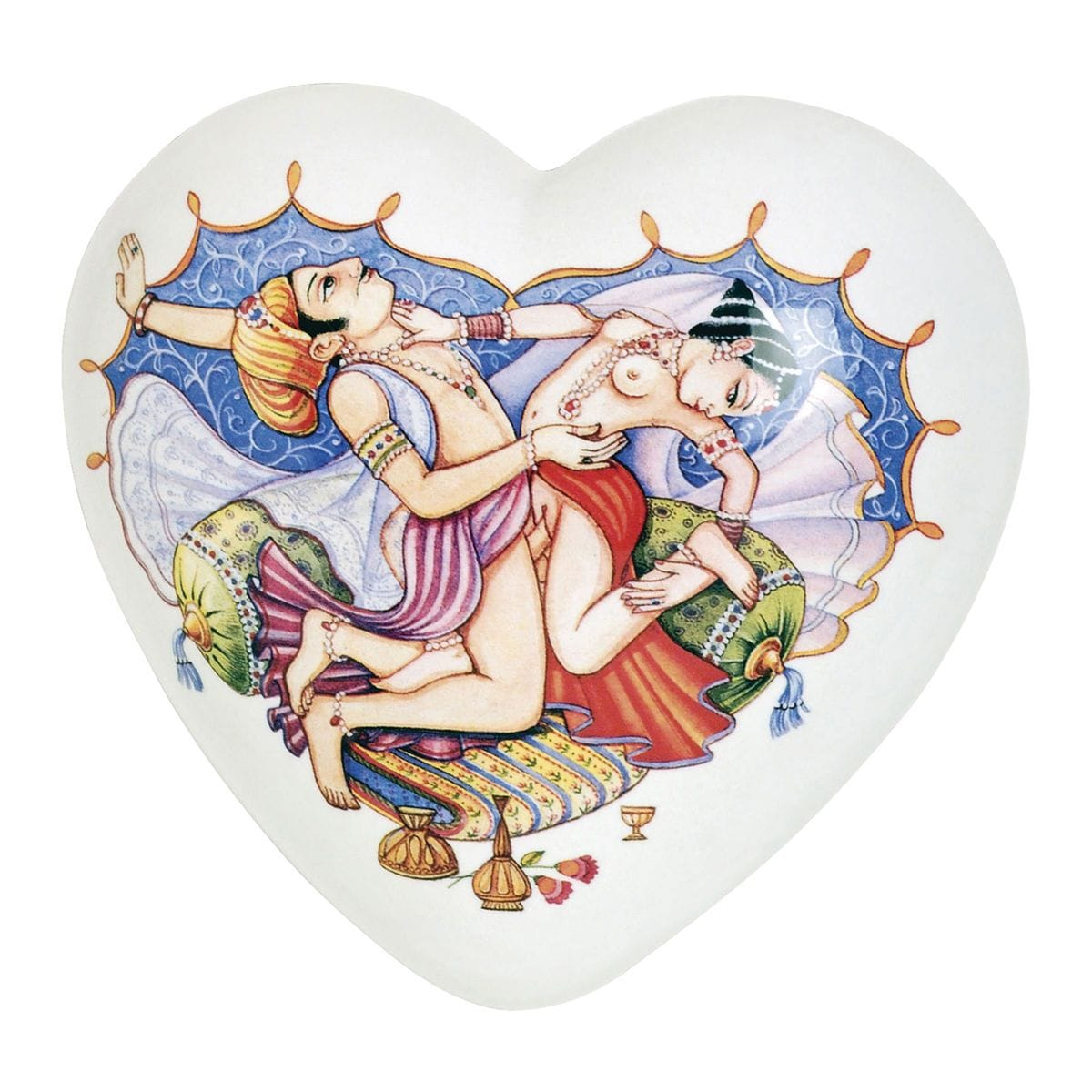 cuore di ceramica bianco con dipinto