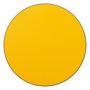Appendiabiti a forma circolare della collezione Art-Up con pomello in acciaio inox e appendiabiti HPL colore giallo