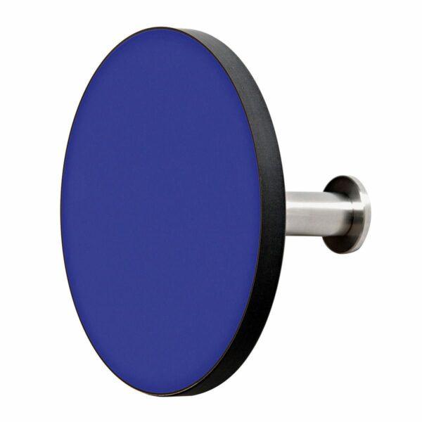 Appendiabiti a forma circolare della collezione Art-Up con pomello in acciaio inox e appendiabiti HPL colore blu