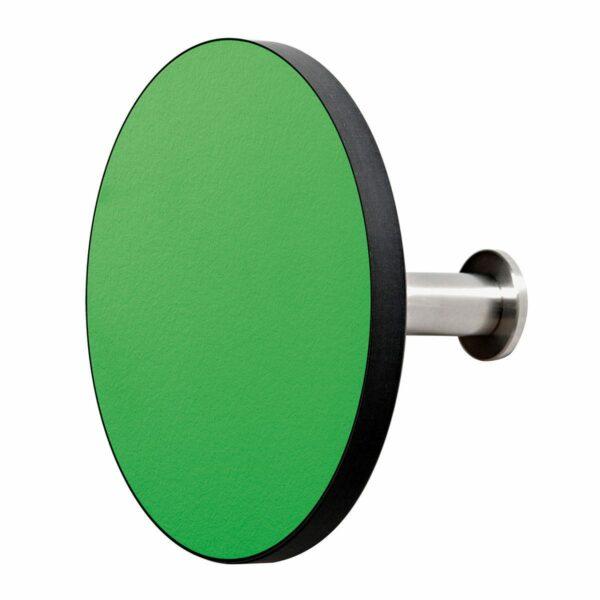 Appendiabiti a forma circolare della collezione Art-Up con pomello in acciaio inox e appendiabiti HPL colore verde