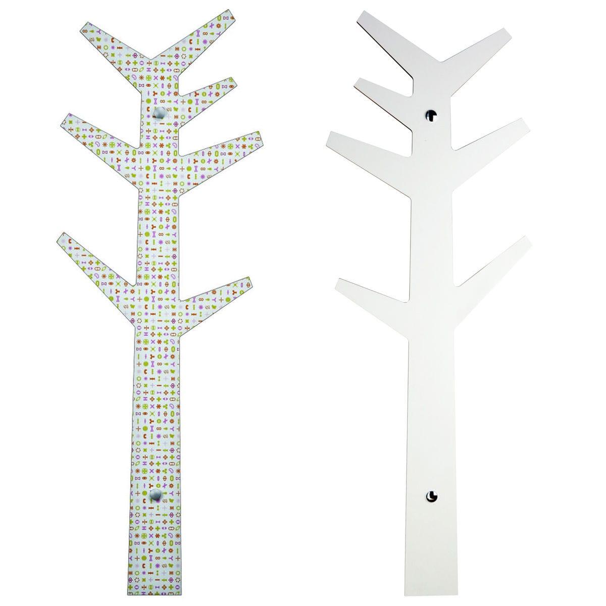 appendiabiti minimal da muro a forma di albero con artwork originale di Karim Rashid