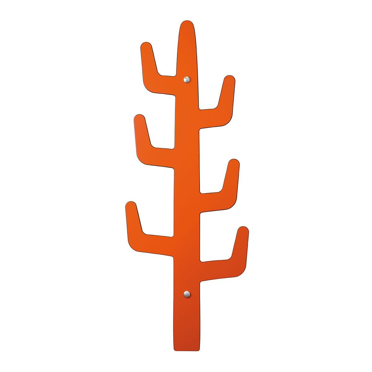 appendiabiti design da parete a forma di cactus arancione