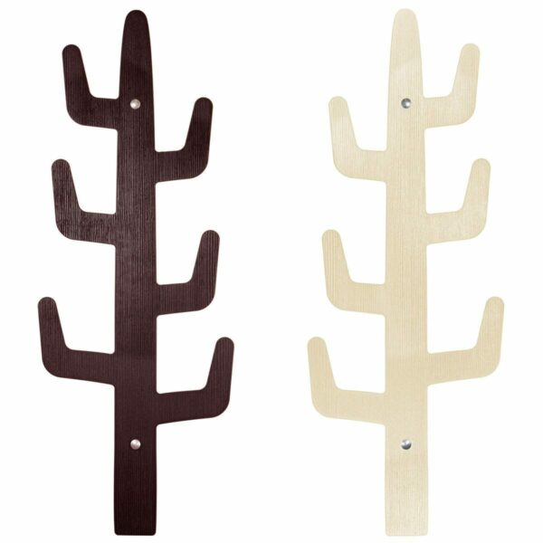 Appendiabiti di design minimal dalla forma di cactus decorato su entrambi i lati, marrone e beige