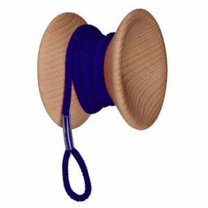 pomello appendiabiti da muro in legno e cordoncino a forma di yo-yo