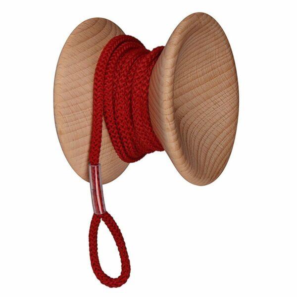 gancio appendiabiti da muro in legno e cordoncino a forma di yo-yo