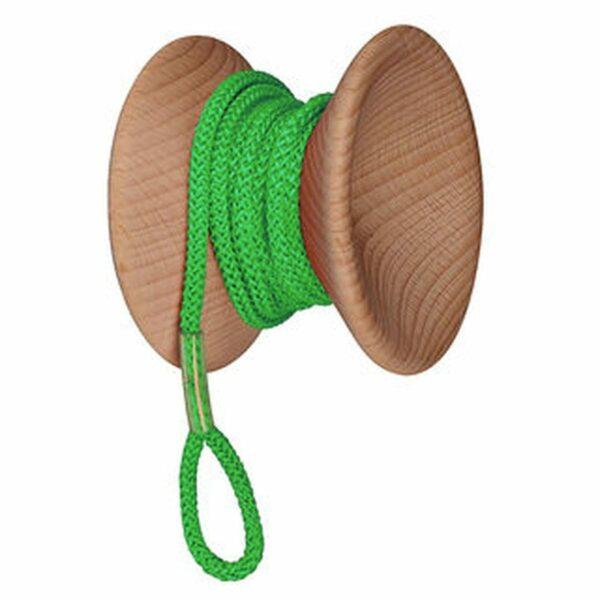 gancio appendiabiti da muro in legno e cordoncino a forma di yo-yo con cordoncino verde fluo