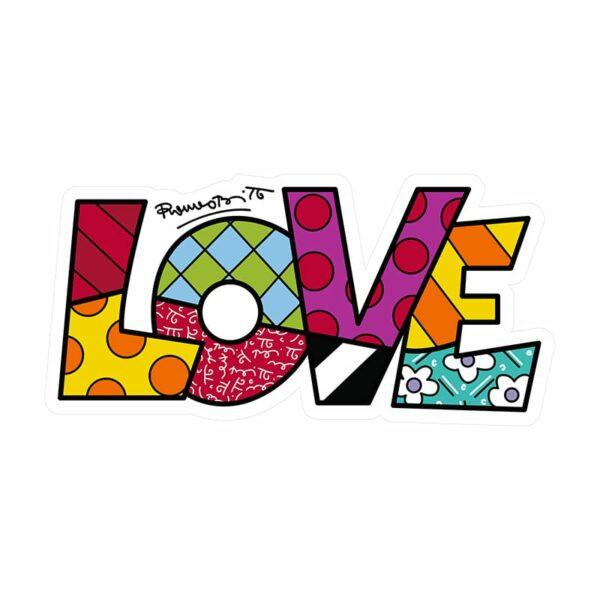 pannello decorativo da parete con scritta LOVE colorata dall artista Romero Britto