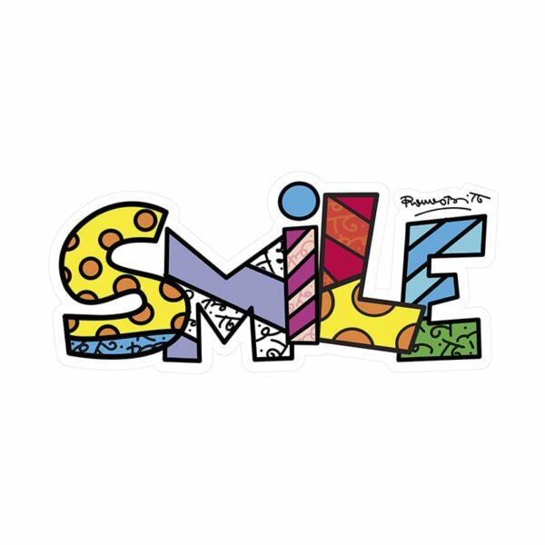 scritta Smile decorativa da parete secondo lo stile artistico di Romero Britto