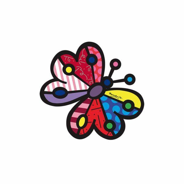 elemento decorativo per il muro a forma di farfalla decorata con la riproduzione di un opera artistica di Romero Britto