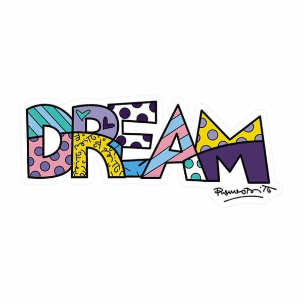 "scritta ""Dream"" decorativa da parete colorata artwork di Romero Britto"