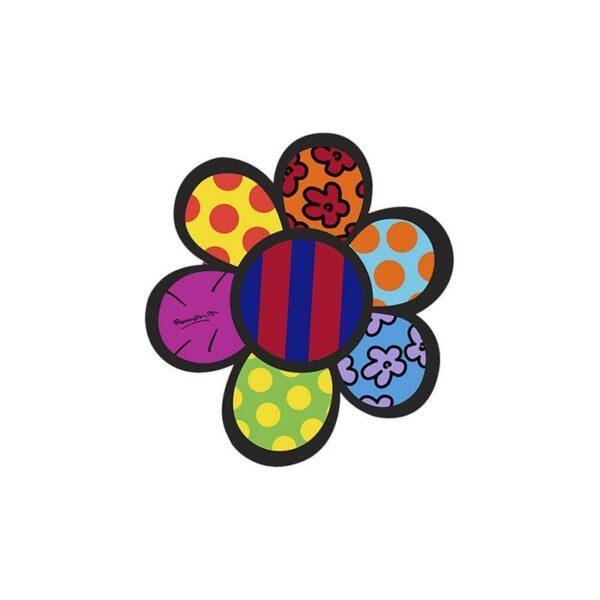 Elemento decorativo da parete a forma di fiore stilizzato raffigurante un opera artistica di Britto
