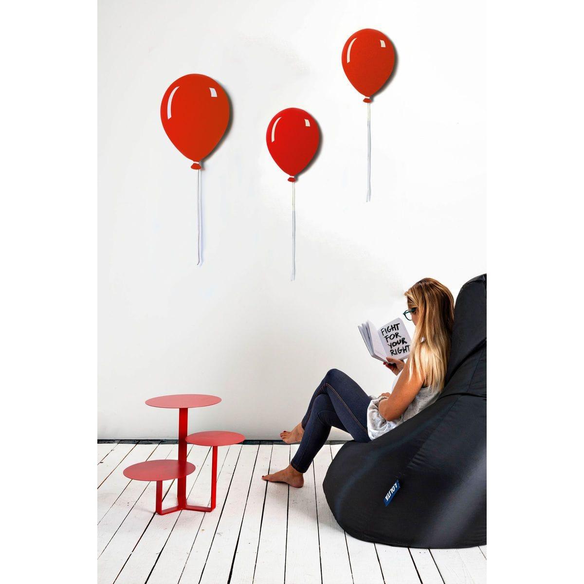 Pannelli da parete decorativi a forma di palloncino piatto con filo bianco di colore rosso