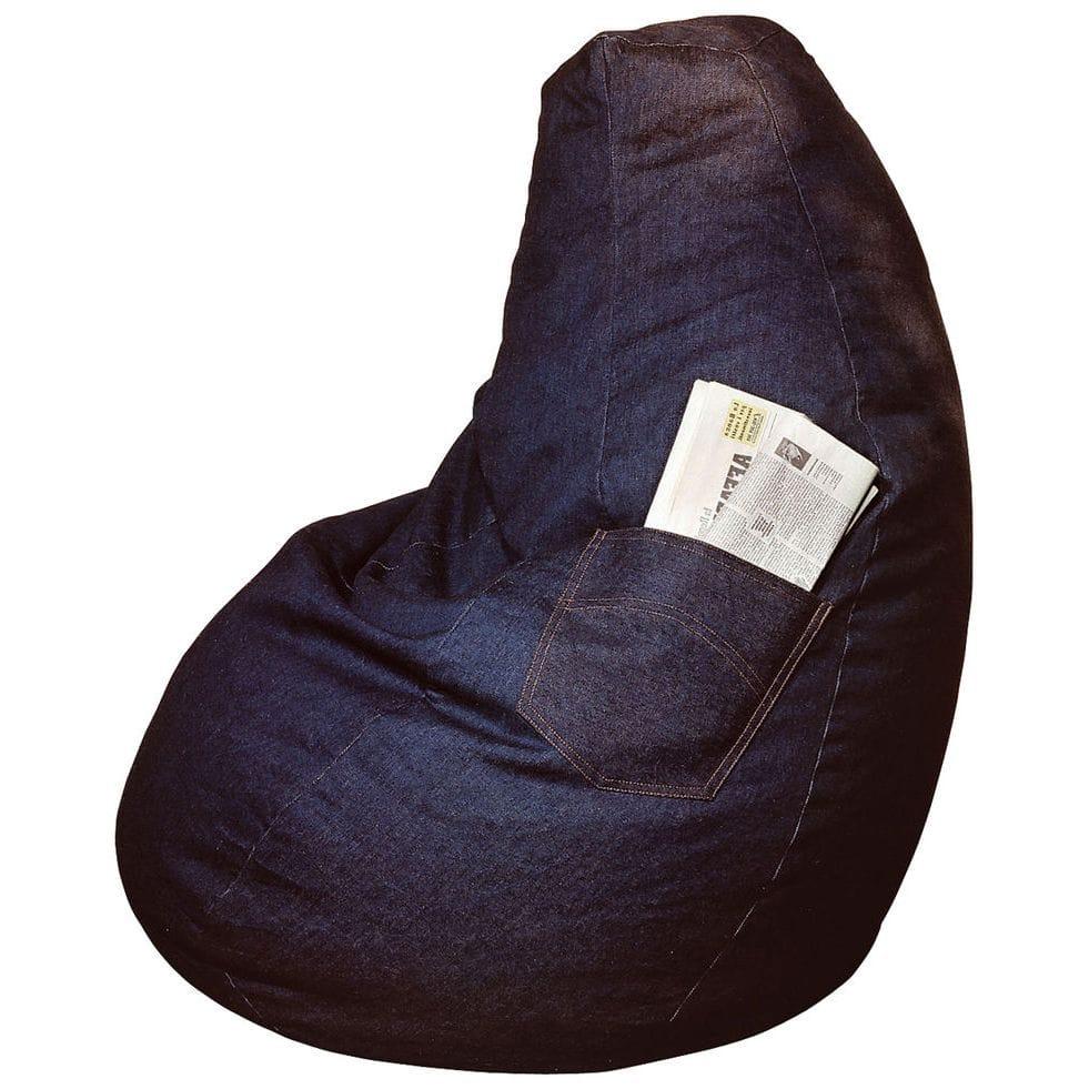 Poltrona a sacco Lolita in cotone jeans con tasca laterale