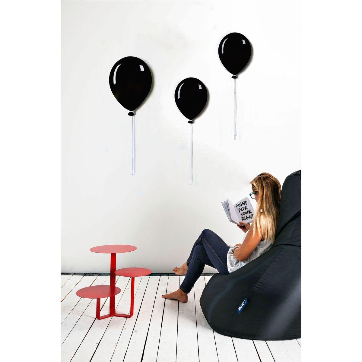 Pannelli da parete decorativi a forma di palloncino piatto con filo bianco di colore nero
