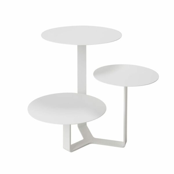 Tavolino di metallo con tre ripiani circolari ad altezze differenti colore bianco