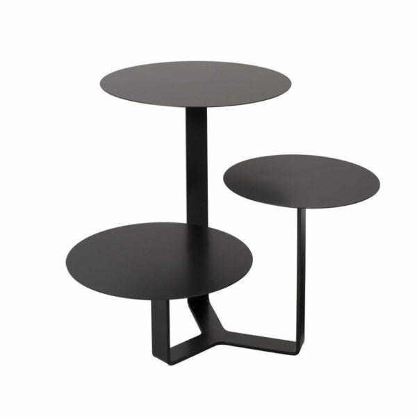 Tavolino di metallo con tre ripiani circolari ad altezze differenti colore nero