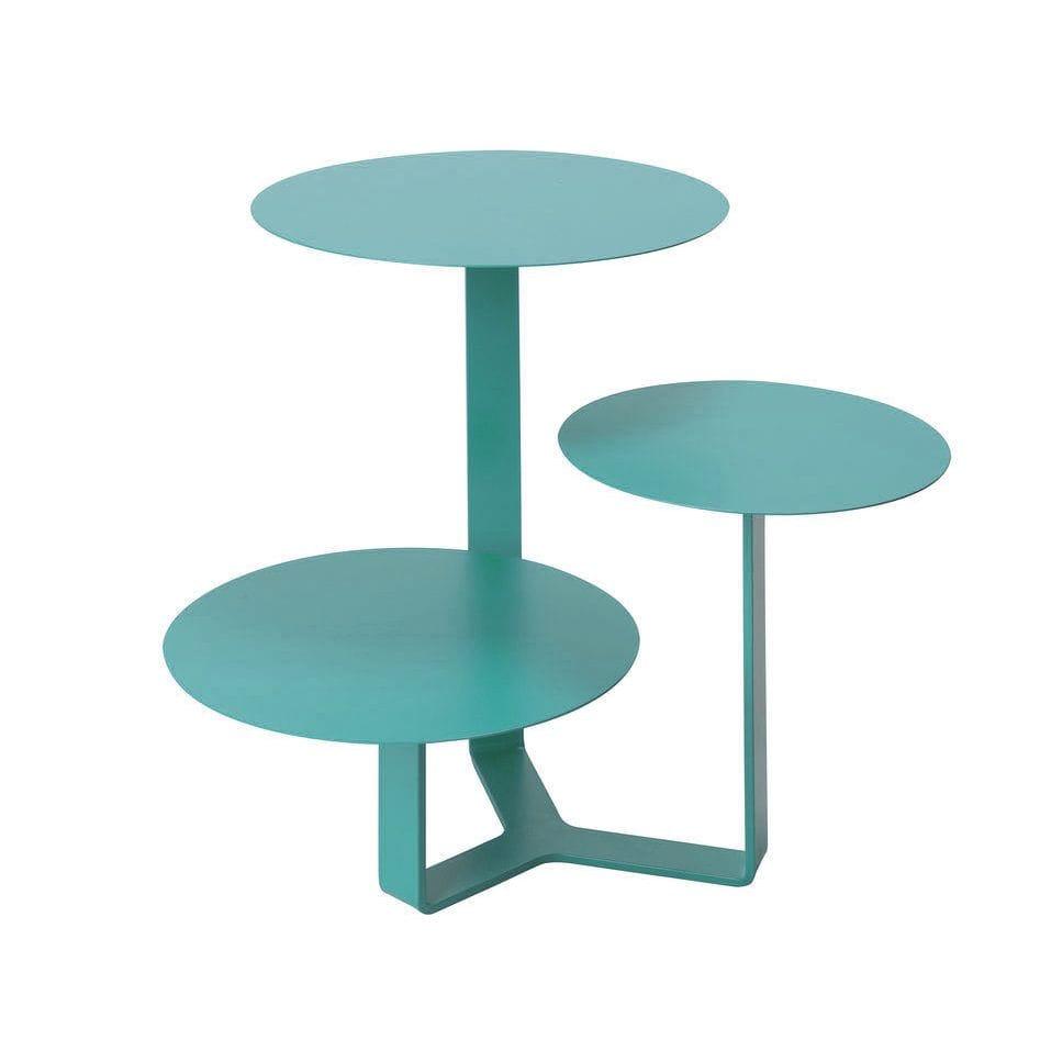 Tavolino di metallo con tre ripiani circolari ad altezze differenti colore turchese