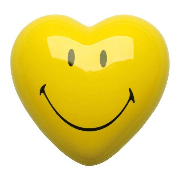 cuore di ceramica giallo con Smiley certificato