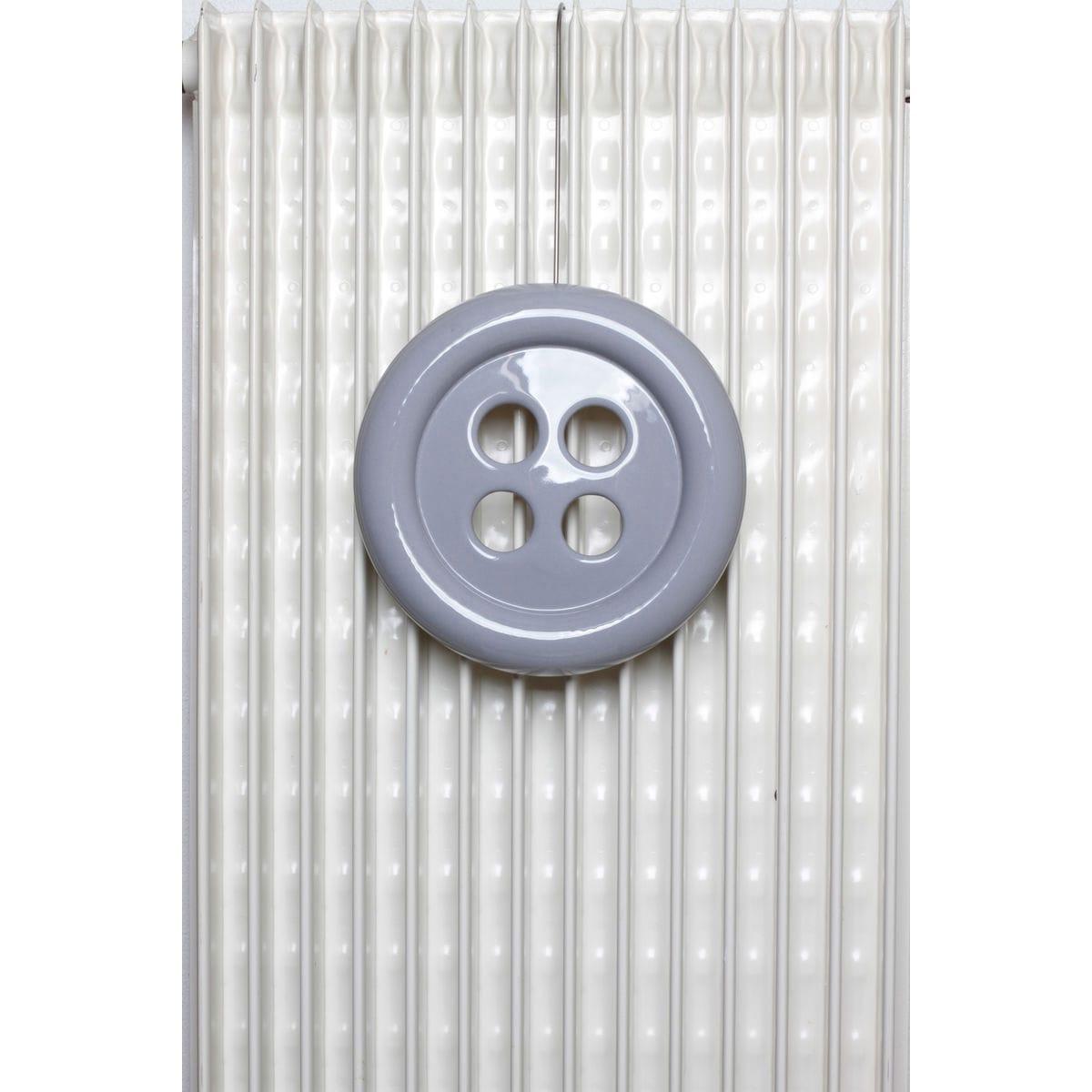 Umidificatore per termosifone in ceramica a forma di bottone colore grigio