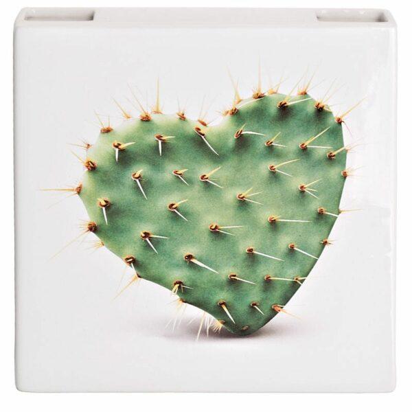 Umidificatore ceramica bianco  design per radiatore con immagine cactus a forma di cuore