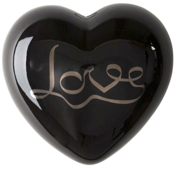 cuore di ceramica nero lucido con scritta platino Love