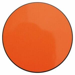 Appendiabiti a forma circolare della collezione Art-Up con pomello in acciaio inox e appendiabiti HPL di colore arancione fluorescente