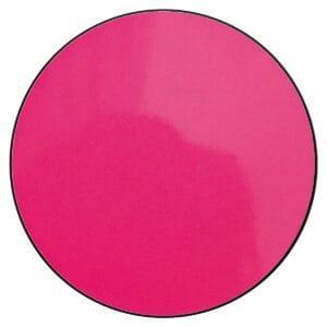 Appendiabiti a forma circolare della collezione Art-Up con pomello in acciaio inox e appendiabiti HPL di colore fucsia fluorescente