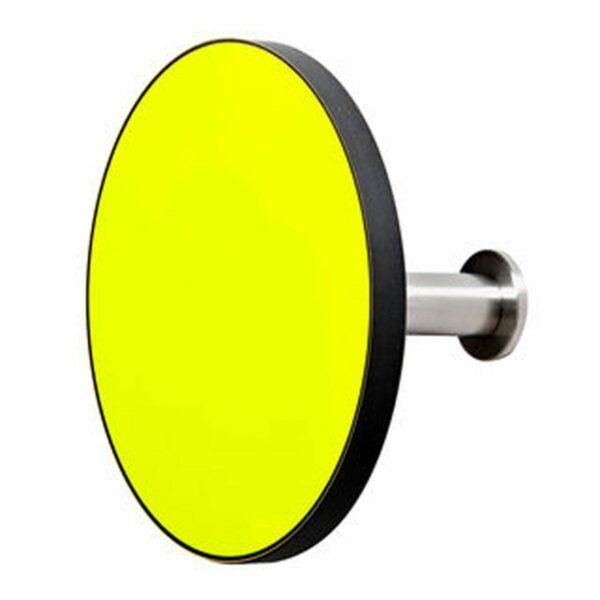 Appendiabiti a forma circolare della collezione Art-Up con pomello in acciaio inox e appendiabiti HPL di colore giallo fluorescente