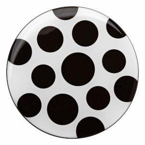 Appendiabiti a forma circolare della collezione Art-Up con pomello in acciaio inox e appendiabiti HPL rivestito in resina con grafica colorata a pois neri su sfondo bianco
