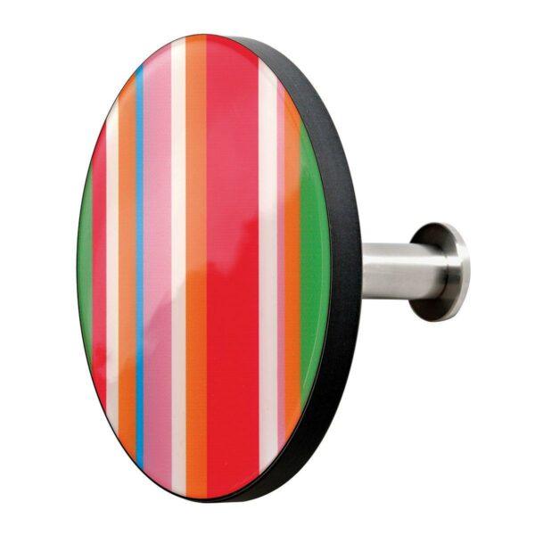 Appendiabiti a forma circolare della collezione Art-Up con pomello in acciaio inox e appendiabiti HPL rivestito in resina con grafica colorata a righe verticali