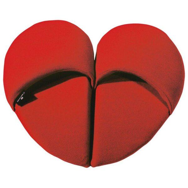 ciabatte in pile rosso a forma di cuore