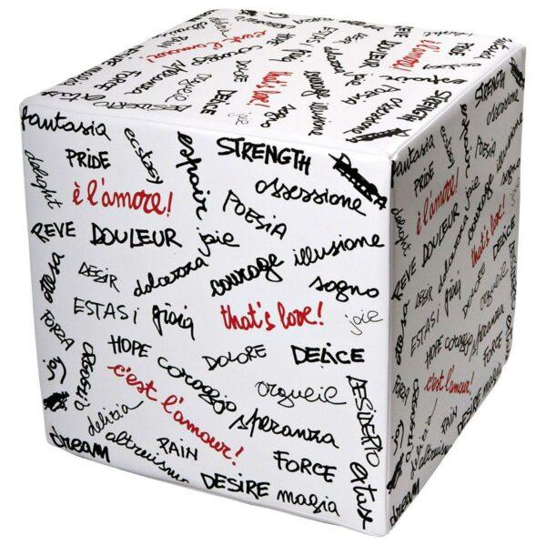 Pouf rigido a cubo in ecopelle bianco con scritte parole sull'amore in nero e rosso di C.B. Farinar