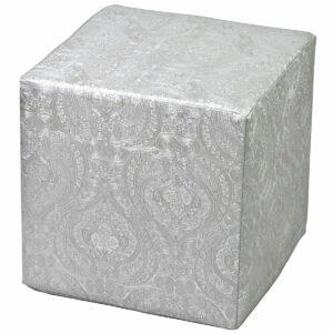 Pouf rigido a cubo in ecopelle argento con fantasia indiana