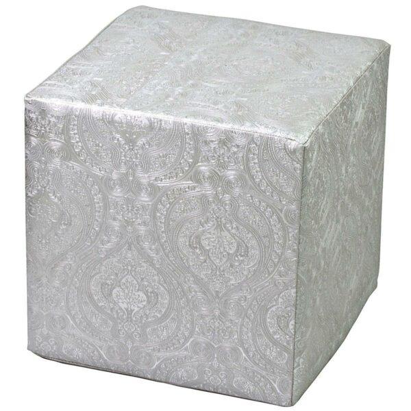 Pouf rigido a cubo in ecopelle silver con fantasia indiana