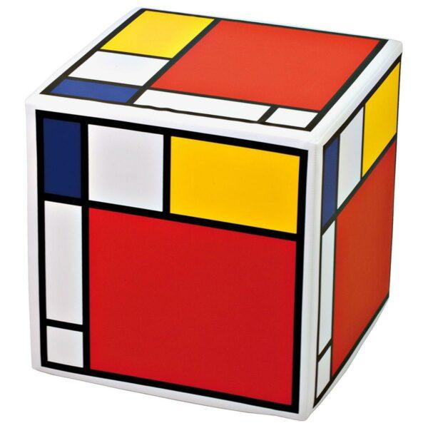 Pouf rigido a cubo in ecopelle con grafica in stile Mondrian