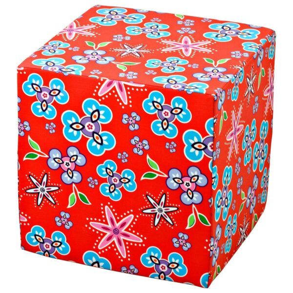 Pouf rigido a cubo in ecopelle rosso con grafica blu