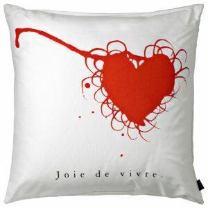 Cuscino in cotone bianco quadrato con grafica a forma di cuore rosso e testo nero