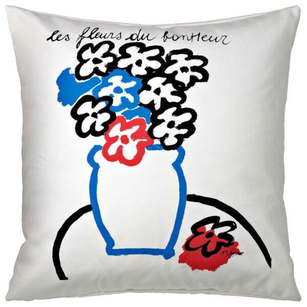 Cuscino in cotone bianco quadrato con grafica floreale nera, blu e rossa