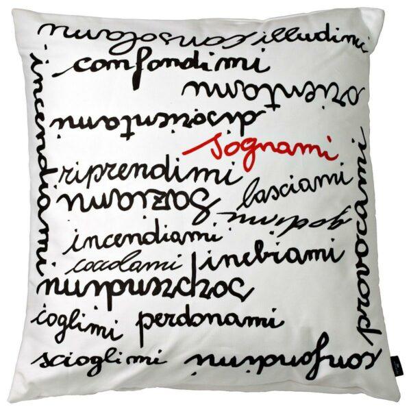 Cuscino in cotone bianco quadrato con stampa parole in nero e rosso