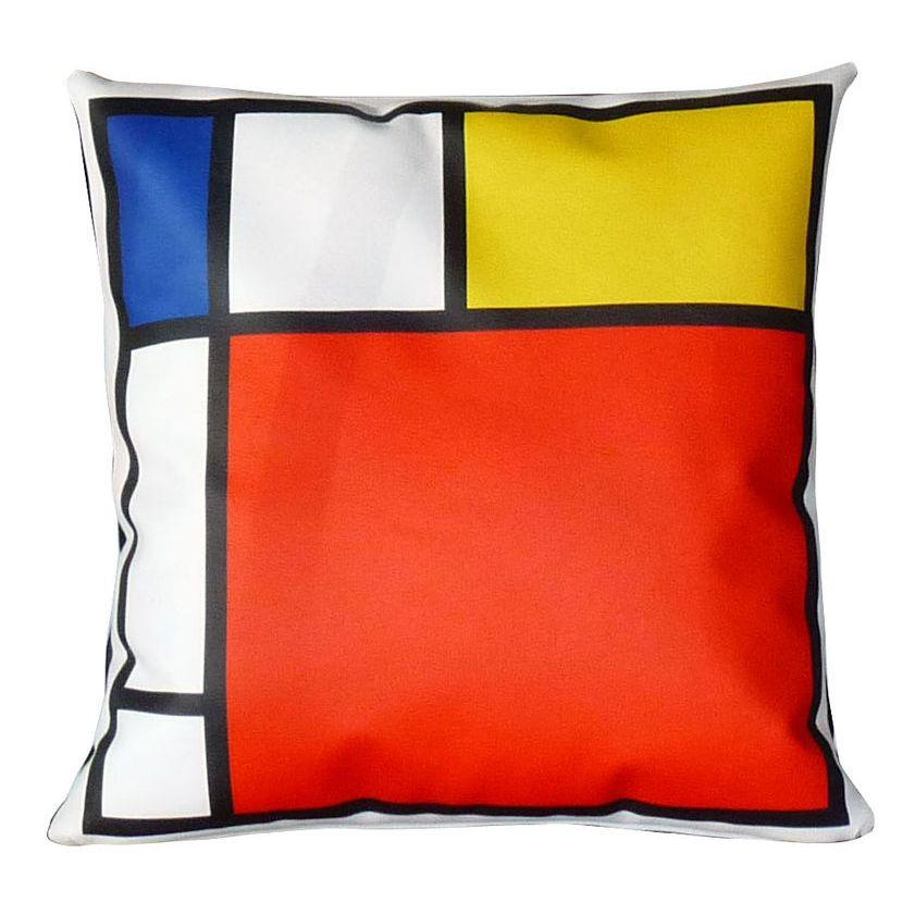 Cuscino in ecopelle bianca quadrato con grafica in stile Mondrian