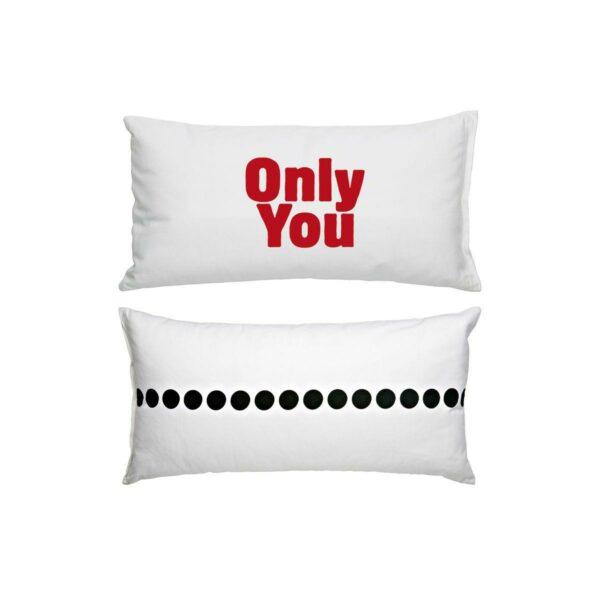 Cuscino in cotone bianco rettangolare con stampa Only You in rosso e grafica nera sul retro