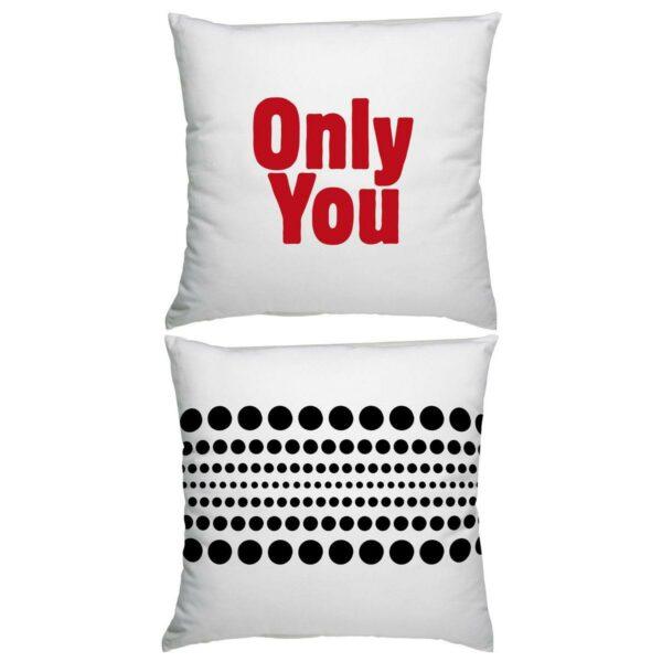 Cuscino in cotone bianco quadrato con stampa Only You in rosso e grafica nera sul retro