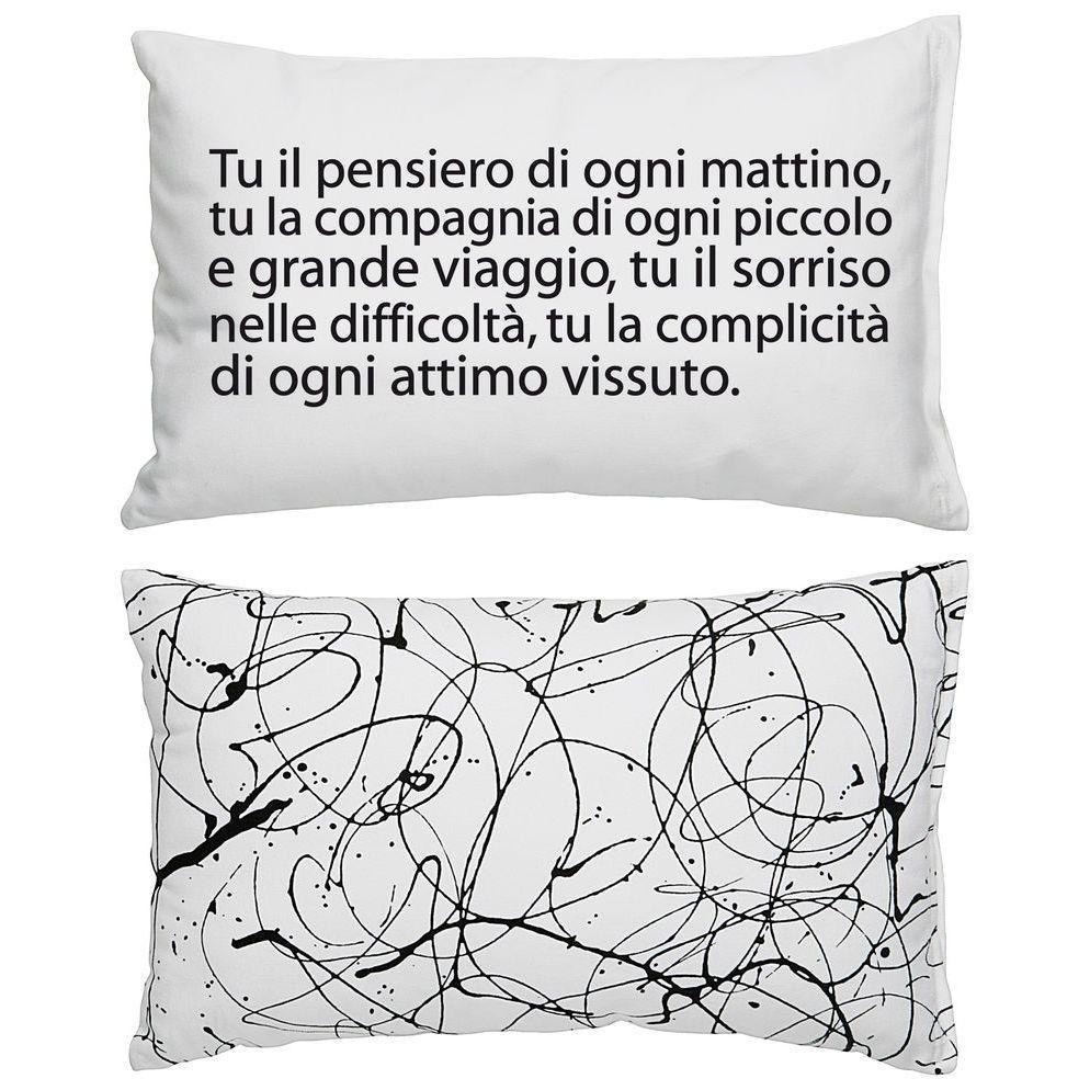 Cuscino in cotone bianco rettangolare con stampa testo in nero e