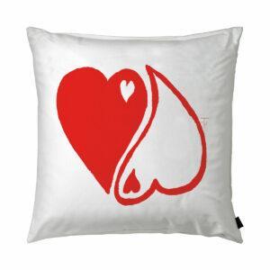 Cuscino in cotone bianco quadrato con grafica tao a forma di cuore rosso