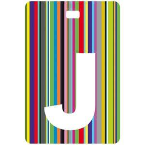 Etichetta bagaglio con lettera alfabeto bianca su sfondo a righe colorate con iniziale J